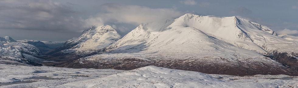 Snow covered Liathach and Beinn Eighe.