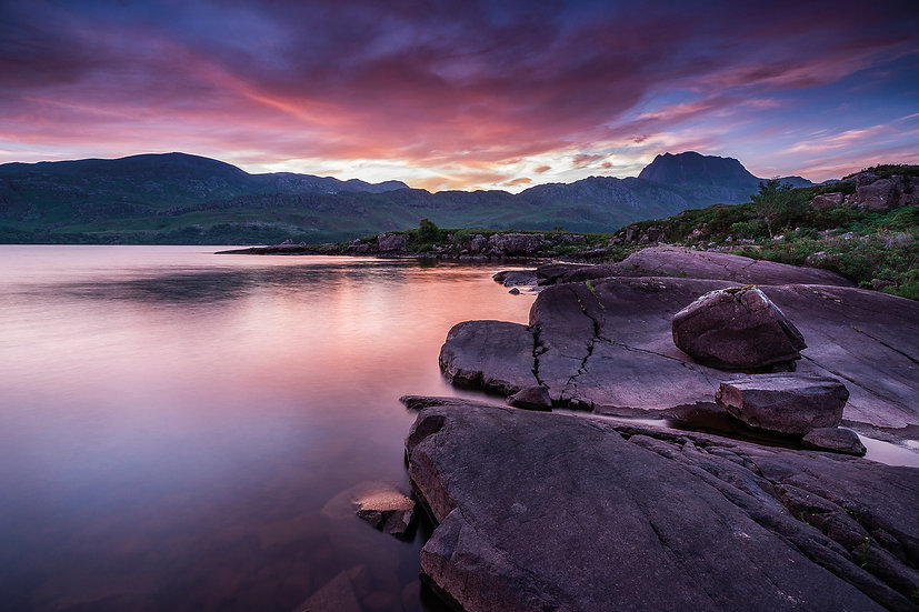 Stunning colours at sunrise above Slioch and Loch Maree.