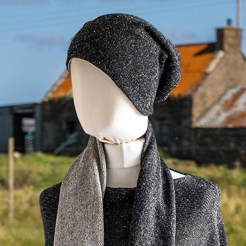Highland Merino Silk Reversible Beanie Black and Silver Tweed