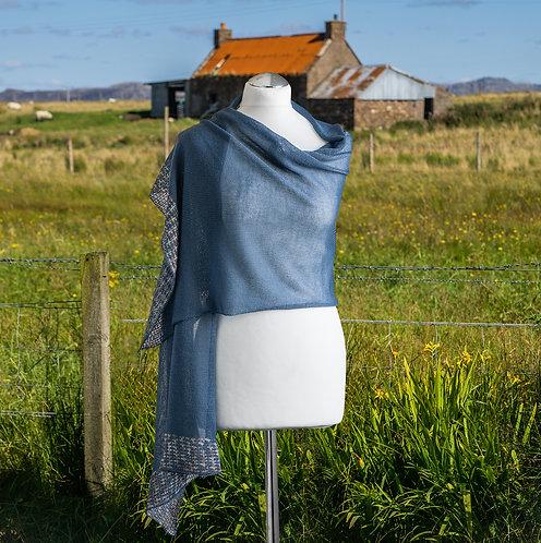 Merino wool wrap in denim blue.