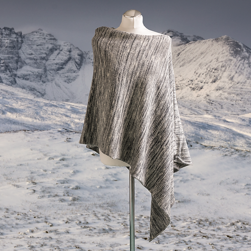 Winter in the Glen Asymmetric Poncho - Grey Silver striped poncho