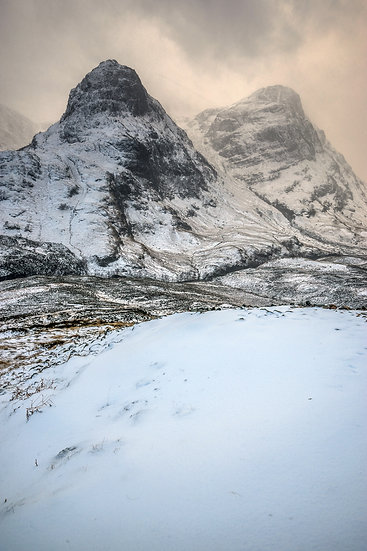 Three Sisters, Glencoe clearing from a snow shower