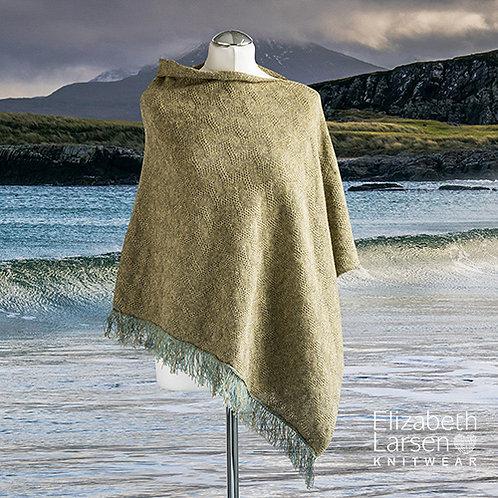 Merino wool green melange textured asymmetric poncho.