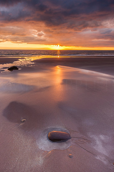 Stunning sunset over the Wester Isles from Opinan Beach, Wester Ross.