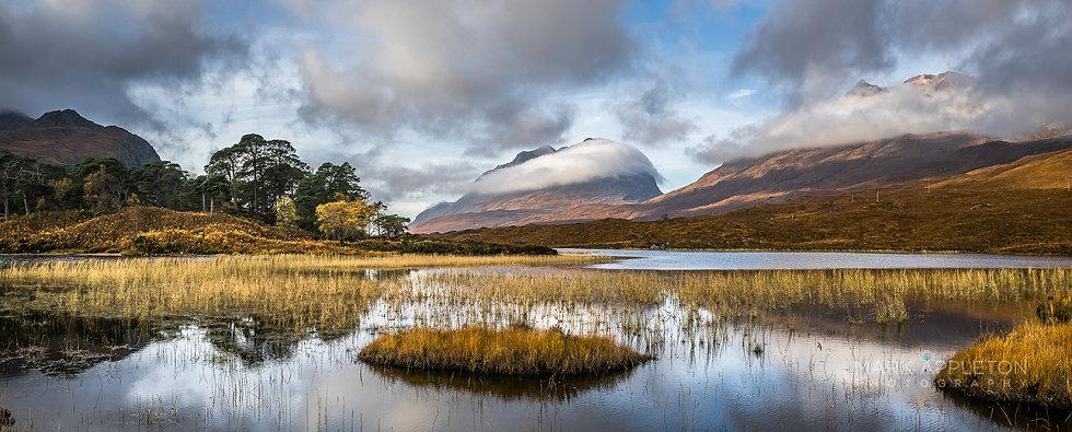 Cloud hugging Liathach and Beinn Eighe, Loch Clair