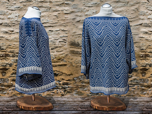 Ripples Tunic Denim Blue and Natural
