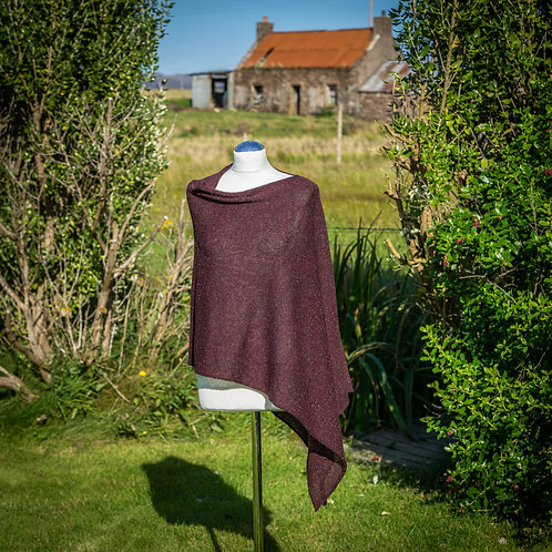 Highland Merino Silk Wine Tweed Asymmetric Poncho