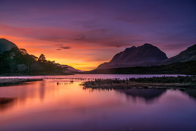 Stunning colours after the sunset looking across Loch Clair towards Liathach