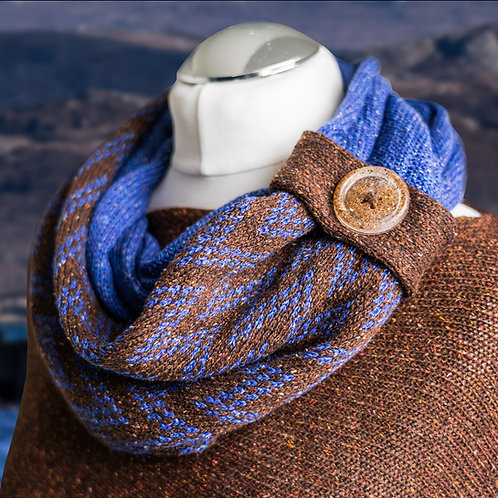 Gairloch Merino Silk Infinity Fairisle Scarf - Mountain