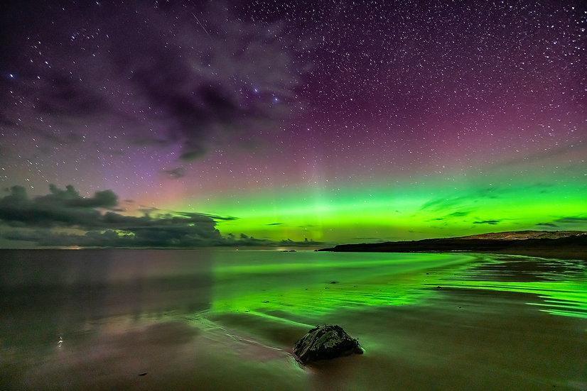 Aurora over Opinan Beach, Wester Ross.