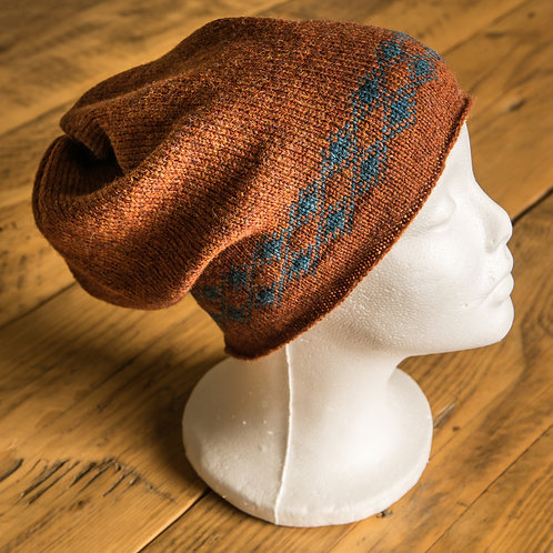 Torridon Slouch Beanie Rust and Teal