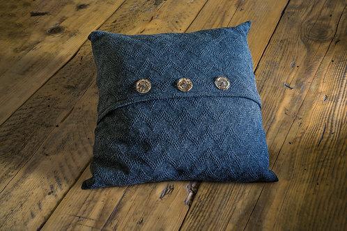 Seashore Merino Textured Waves Cushion - Denim