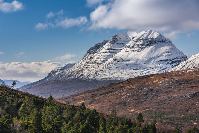 Looking down Glen Torridon towards a snow capped Liathach, Torridon, Wester Ross.