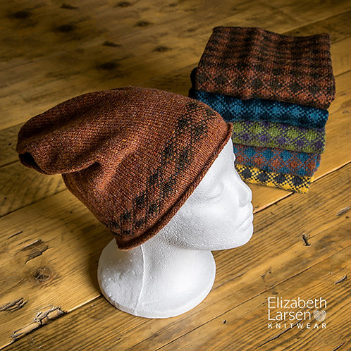 Torridon Slouch Beanie Rust and Chocolate Brown