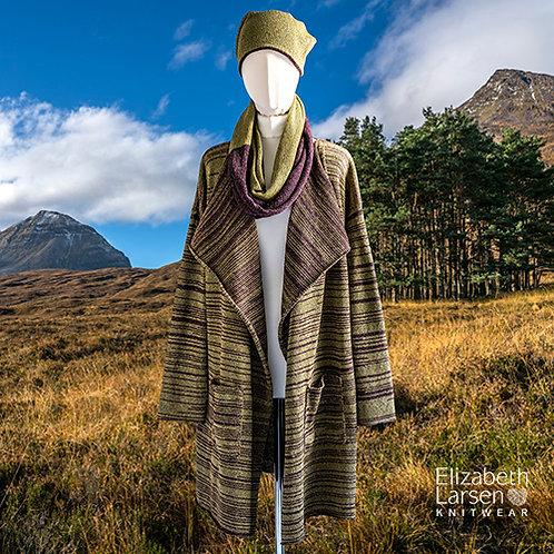 Highland Merino Silk Slouch Oversized Coat Green and Wine
