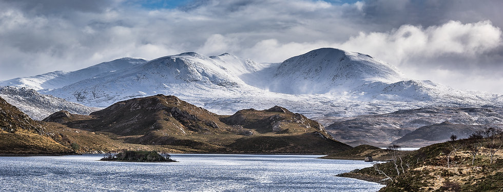 Snow covered Meagan Laith Coire Mhic Dhughaill, Loch Stack, Sutherland
