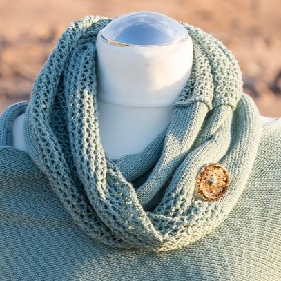 Sea Green cotton infinity scarf
