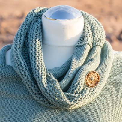 Sea Green Seashore Cotton Infinity Scarf