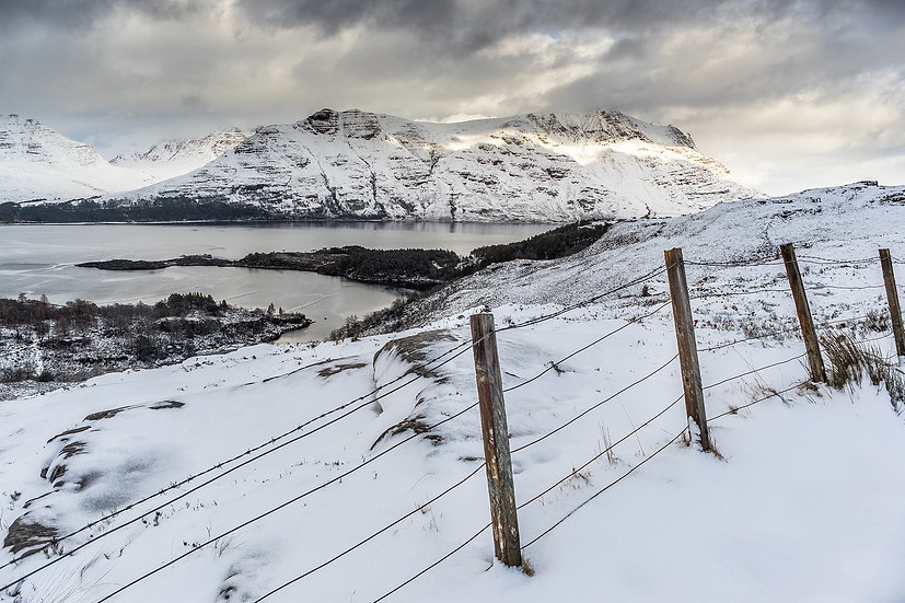 Looking across Upper Loch Torridon towards a snow covered Liathach