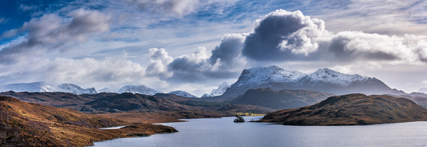 Looking across Loch  Kernsary towards the Fishfield mountains and Beinn Airigh Charr, Wester Ross.
