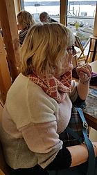 Gairoch Cowl knitted in labswool by Elizabeth Larsen Knitwear. Knitwear made in Scotland.