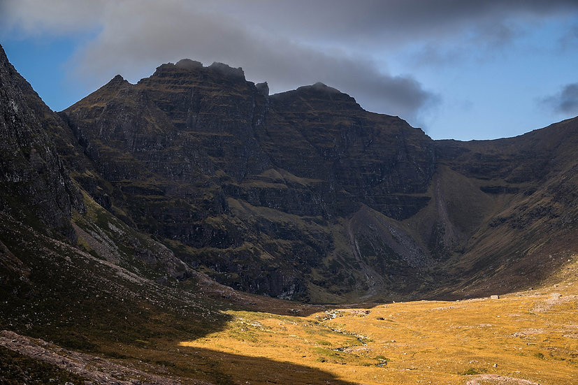 Moody An Teallach 'The Forge' in the shadows.