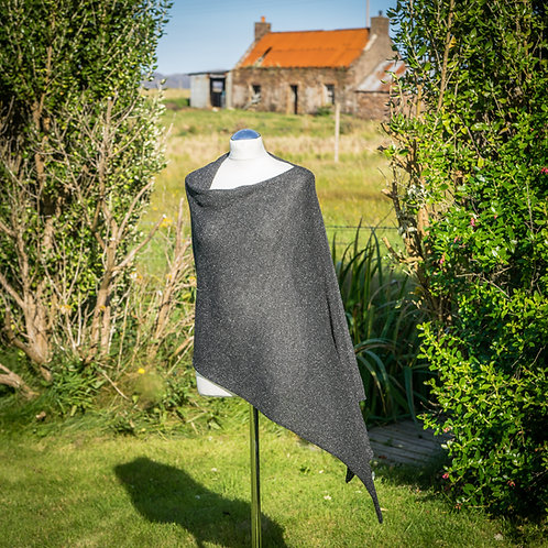 Highland Merino Silk Asymmetric Poncho Black Tweed