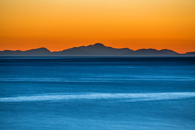 Looking across the Minch towards Clisham on Isle of Harris after sunset.