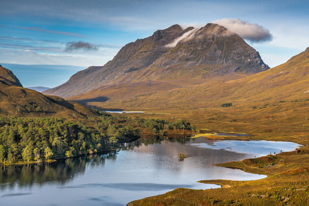 Looking across Loch Clair to Liathach in its autumn colours.