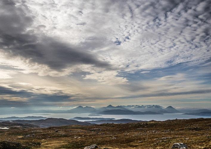 Cuillins on Skye from the Bealach na Ba.