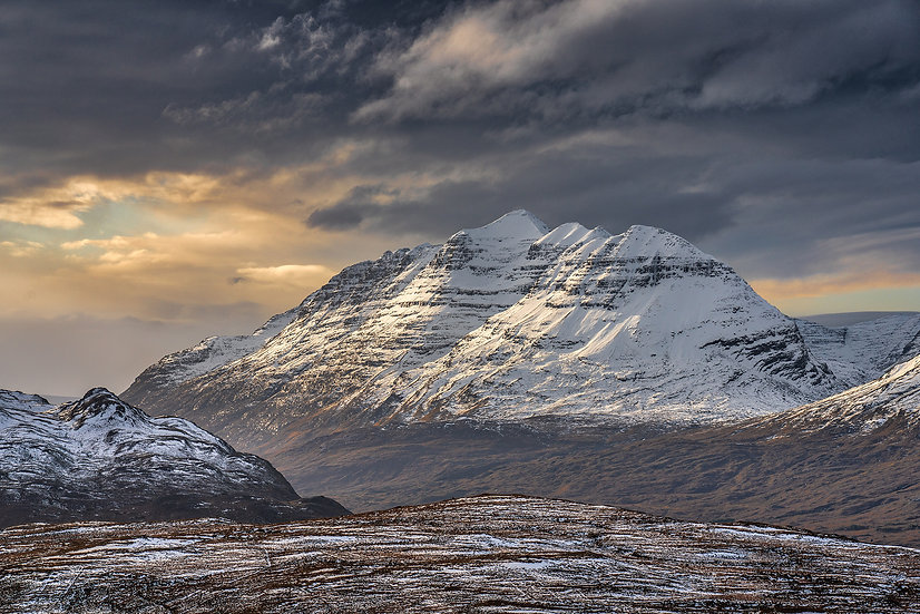 Late afternoon light catching the various tops of Liathach, Torridon.