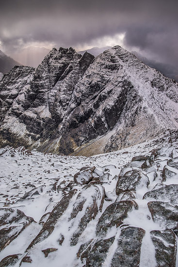 Looking along the ridge of An Teallach in freezing conditions