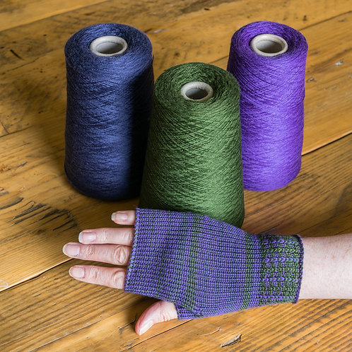 Merino wool fingerless gloves- purple/green