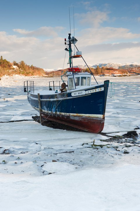 Frozen Badachro bay, Wester Ross