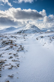 Virgin snow on the Shenavail path leading towards the Fisherfield mountains.