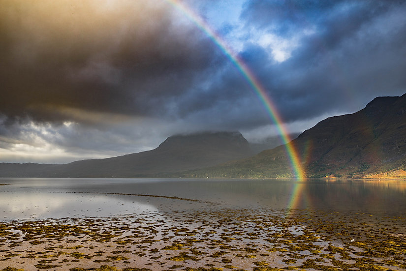 Rainbow refelcting back out of Upper Loch Torridon creating an 'X'