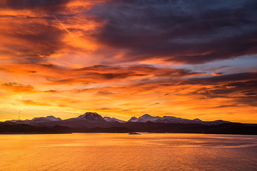 Stunning sunrise over the Torridon mountains, Loch Gairloch