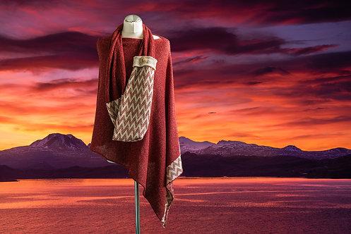 Gairloch Merino Silk Asymmetric Poncho - Sunset