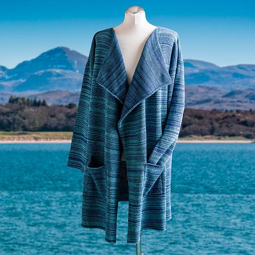 Highland Merino Silk Slouch Oversized Coat Denim Blue & Sea Blue