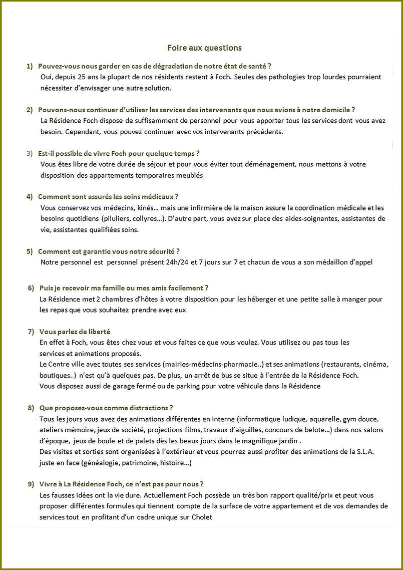Vos questions sur la Résidence Services Foch Cholet
