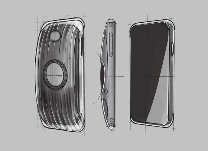 The process started with sketches, which inspired by how curvy Harman Kardon's Soundsticks were, and pushes further the surfacing details in mobile phone design.