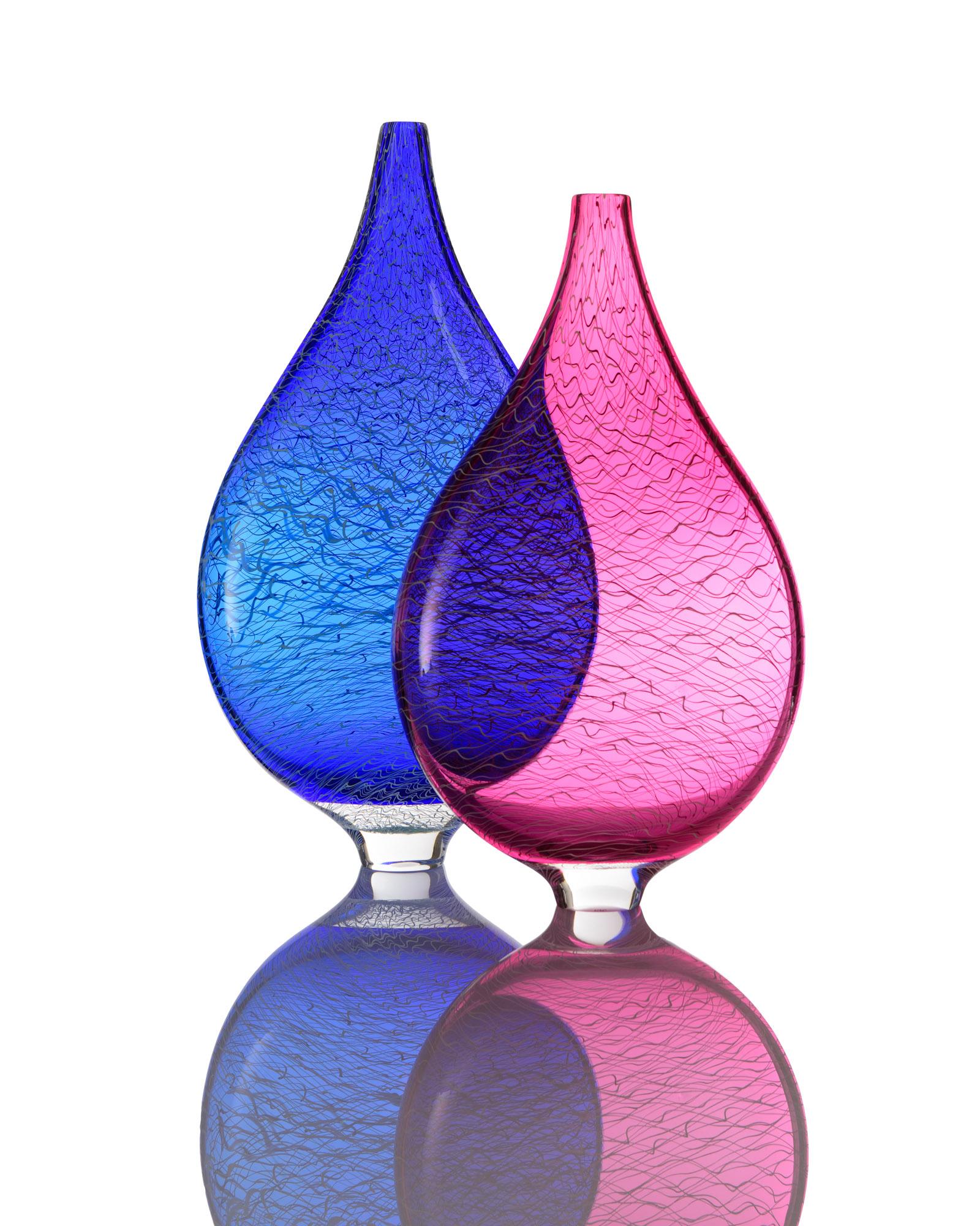Marea Flat Vase Pair - Blue & Wine Red