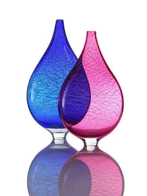 MAREA FLAT VASE PAIR [Cerulean Blue & Wine Red]