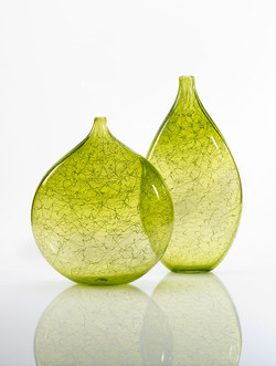 Pair of lime green Marea vases