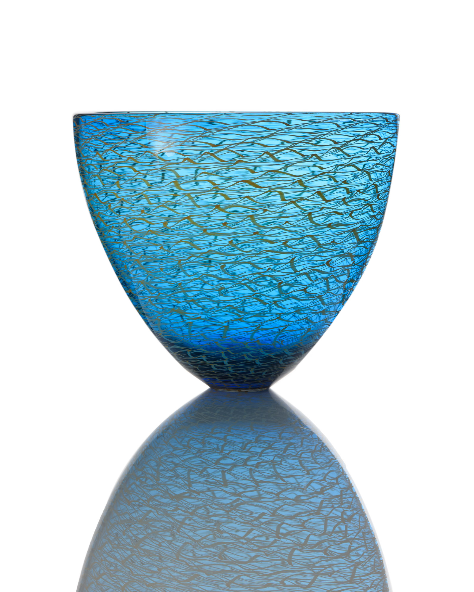 Marea Medium Bowl - Aquamarine Blue_Gold