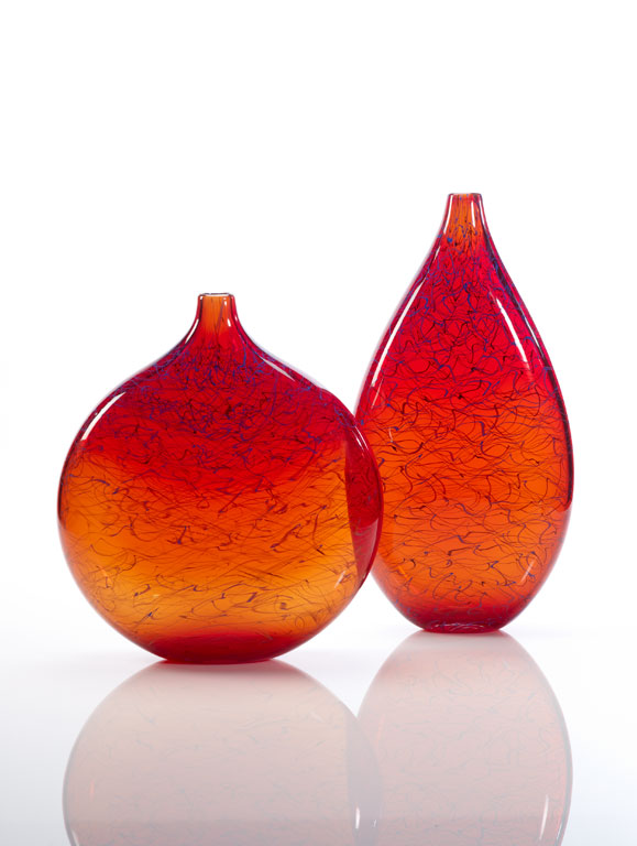 Pair of cherry red Marea vases