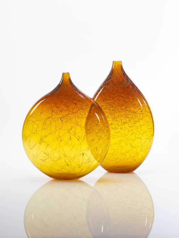 Pair of brilliant gold Marea vases