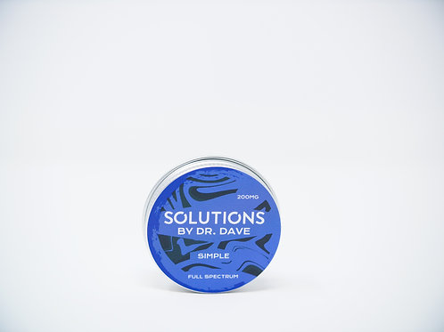 Tin of CBD balm with a blue label