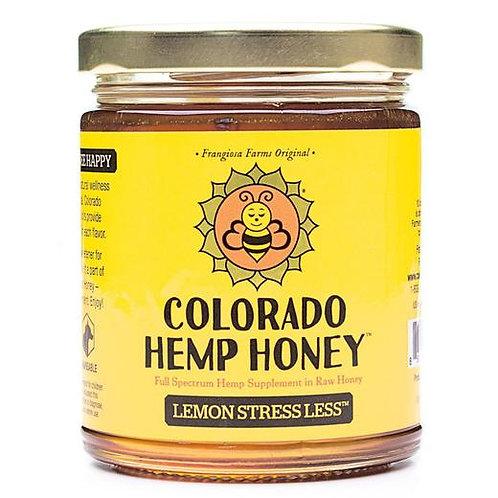 Golden jar of CBD honey by Colorado hemp honey