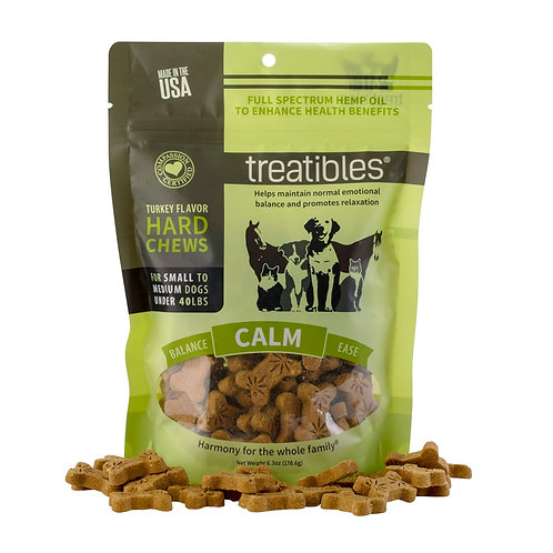 Green pouch of bone shaped hemp dog treats